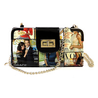 Magazine Cover Collage Turn Lock Crossbody Wallet