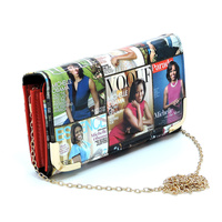 Magazine Cover Collage Crossbody Clutch Wallet