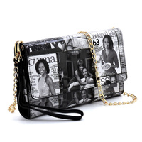 Magazine Cover Collage Clutch Wallet Cell Phone Purse