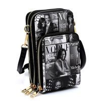 Magazine Cover Collage Crossbody Bag Cell Phone Purse