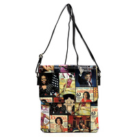 Magazine Cover Collage Flap Crossbody Bag