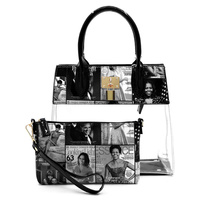 Magazine Cover Collage Padlock See Thru 2-in-1 Satchel
