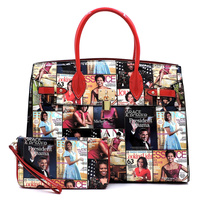 Magazine Cover Collage Padlock 2-in-1 Satchel