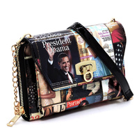 Magazine Cover Collage Zip Around Crossbody Clutch Wallet