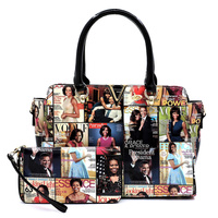 Magazine Cover Collage V Accent 2-in-1 Satchel & Wallet Set