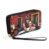 Magazine Cover Picture Double Zip Around Wallet Wristlet