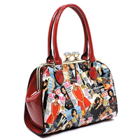 Magazine Cover Collage Kiss Lock Satchel