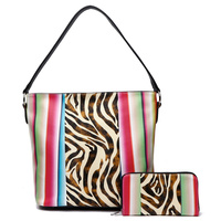 Zebra Multi Striped 2-in-1 Bucket Satchel