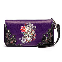 Zip Around Skull Wallet