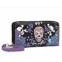 Western Skull Double Zepper Wallet