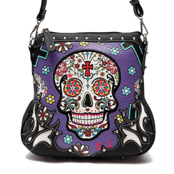 Skull  W/Concealed Gun Pocket Messenger Bag
