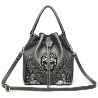 Drawstring  Cowgirl Trendy' Sugar Skull Bucket Bag