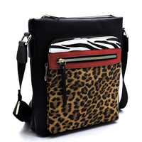 Leopard Zebra Colorblock Crossbody Bag