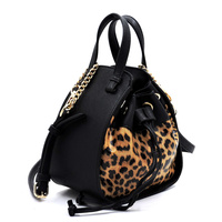 Leopard Drawstring Convertible Satchel