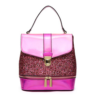 Metallic Glitter Push LockFlap Backpack