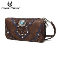 Western Turquoise Flower Zip Around Wallet Wristlet