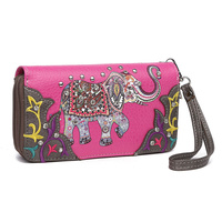 Elephant Western Double Zip Around Wallet