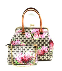 Flower Printed Padlock Satchel & Clutch Set