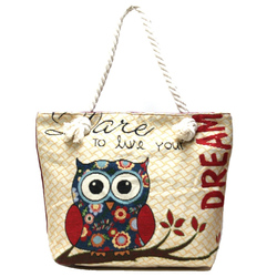 Owl Print Shoulder Handbag