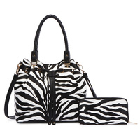 Zebra Printed Drawstring 2-in-1 Satchel