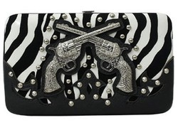 Zebra Print  with Gun Flat Wallet