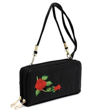 Embroidered Flower  Zip Around Crossbody Wallet