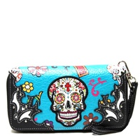 Skull Double Zip Around Western Wallet