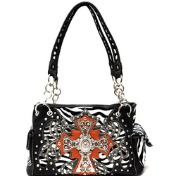 Zebra print with Cross Handbag